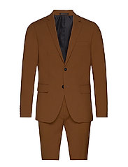 Plain mens suit - TOBACCO
