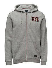 Hood sweat cardigan w. applica - GREY MEL