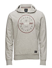 Hooded embroidered sweat - GREY MEL
