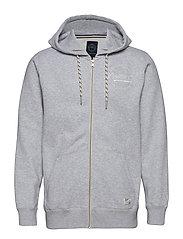 Appliqué zip hood - LT GREY MEL