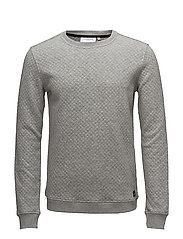 O-neck sweat w/pattern - GREY MEL
