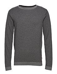 Striped knit w. o-neck - DK GREY MEL