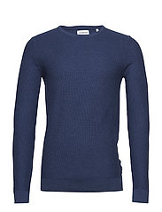 Cotton knit w o-neck - BLUE MEL