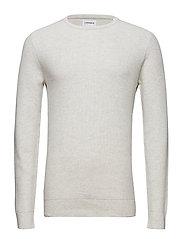 Cotton knit w o-neck - OFF WHITE