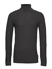 Cotton knit w. rollneck - BLACK MEL