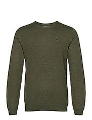Mélange round neck knit - ARMY MEL
