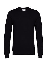 Mélange round neck knit. - BLACK