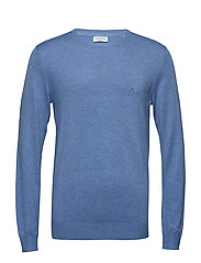 Mélange round neck knit. - BLUE MEL