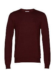 Mélange round neck knit. - BORDEAUX MEL
