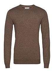 Mélange round neck knit - BROWN MEL