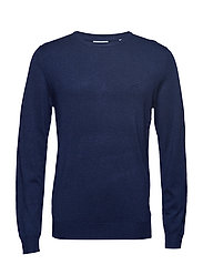 Mélange round neck knit - DK BLUE MEL