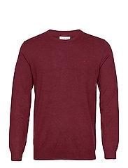 Mélange round neck knit - DK RED MEL