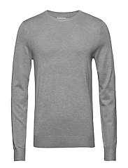 Mélange round neck knit. - GREY MEL