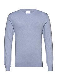 Mélange round neck knit - LT BLUE MEL