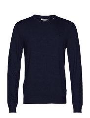 Mélange round neck knit - NAVY MEL