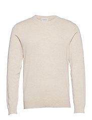 Mélange round neck knit - OFF WHITE MEL