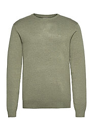 Mélange round neck knit - SOFT GREEN