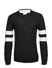 Contrast melange knit v-neck - BLACK MEL
