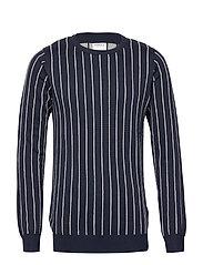 Vertical stripe knit - DK BLUE