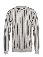 Vertical stripe knit - GREY MEL