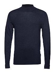 Roll neck knit - NAVY MEL