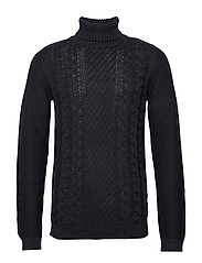 Cable knit w. roll neck - NAVY