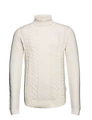 Cable knit w. roll neck - OFF WHITE