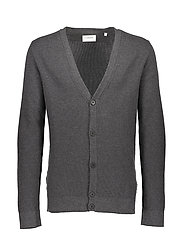 Cotton knit cardigan - BLACK MEL