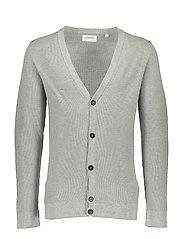 Cotton knit cardigan - LT GREY MEL