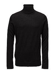 Merino knit roll-neck - BLACK
