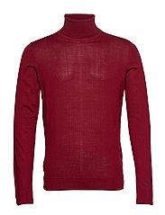 Merino knit roll-neck - DK RED