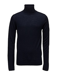 Merino knit roll-neck - NAVY