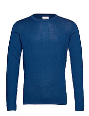 Merino knit o-neck - DEEP BLUE