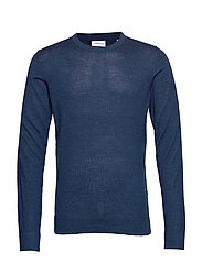 Merino knit o-neck - DEEP BLUE MIX