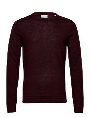 Merino knit o-neck - DK BORDEAUX