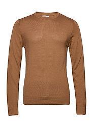 Merino knit o-neck - DK CAMEL