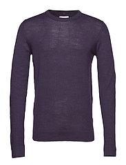 Merino knit o-neck - DK PURPLE