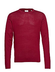 Merino knit o-neck - DK RED