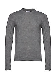 Merino knit o-neck - GREY MIX