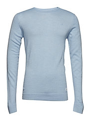 Merino knit o-neck - LT BLUE