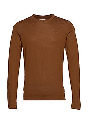 Merino knit o-neck - LT BROWN
