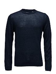 Merino knit o-neck - NAVY