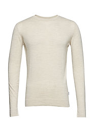 Merino knit o-neck - OFF WHITE