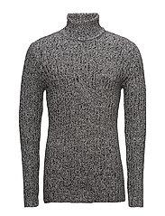 Roll neck rib knit - GREY TWIST