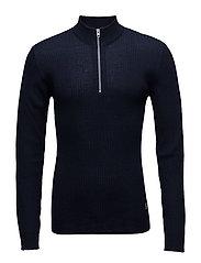 Zip neck knit, 3x2 - NAVY