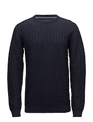 Pattern o-neck knit - NAVY MEL