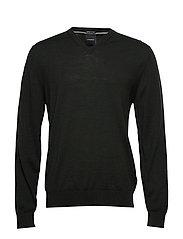 100 % merino v-neck knit - DK GREEN