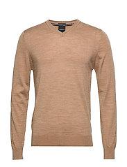 100 % merino v-neck knit - LT CAMEL MEL