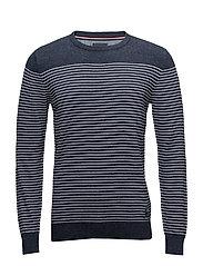 Striped knit - NAVY MEL