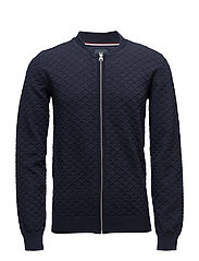 Honeycomb pattern knit w. zip - NAVY MEL